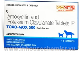 Toxo-Mox 500 (Amoxycillin & Potassium Clavulanate 400mg/100mg) 10 Tablets/Pack